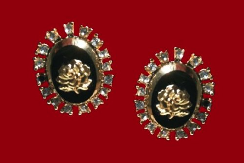 Rose design oval shaped clip on earrings. 12 K gold filled, onyx, clear crystals