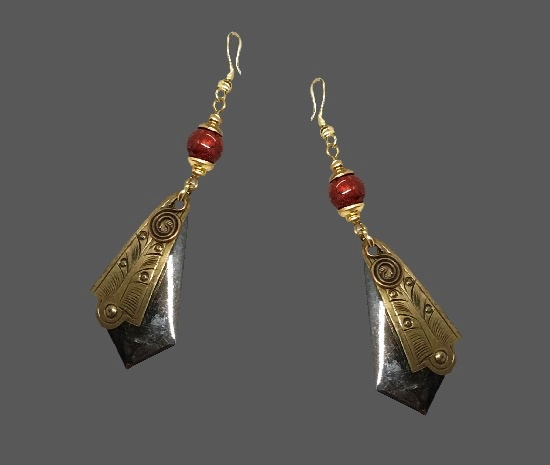 Silver and gold tone textured metal pierced earrings