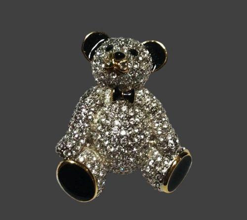 Teddy Bear gold tone Austrian crystals, black enamel