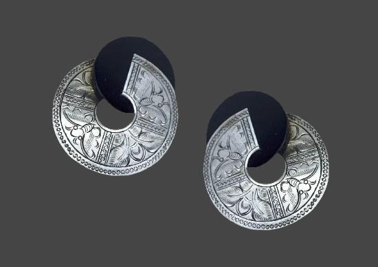 Textured silver black wood pierced earrings