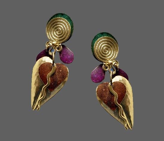 'The Spice Isles' clip on earrings. Metal alloys, enamel