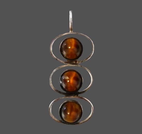 Tiger eye sterling silver modernist design pendant. 1960s