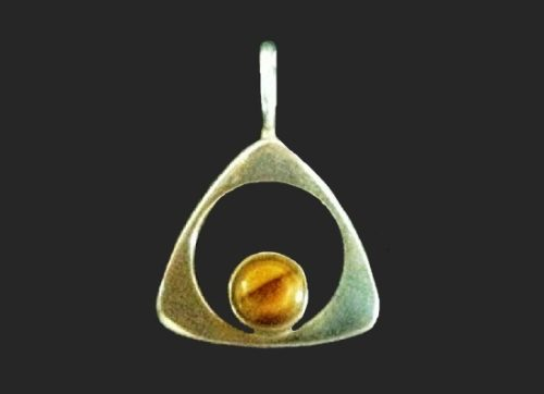 Triangle shaped pendant. Sterling silver, tiger eye stone. 1970s