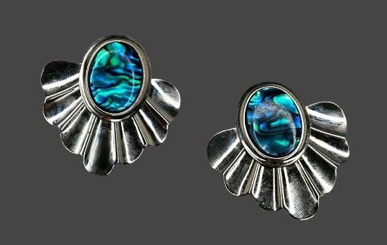 Turquoise abalone silver tone pierced earrings. 1980s