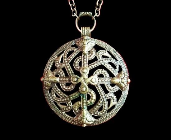 Viking Cross motif mid century bronze pendant