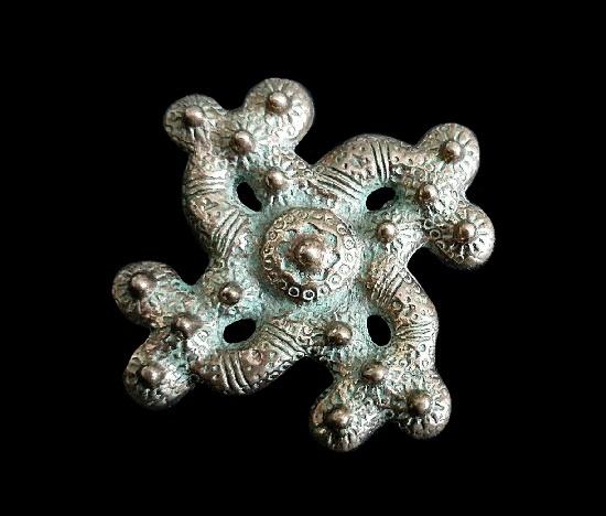 Viking cross motif brooch