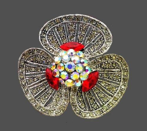 Violet flower rare vintage brooch. Silver-tone bijouterie alloy, Aurora borealis crystals, rhinestones. 4.6 cm, 1960s