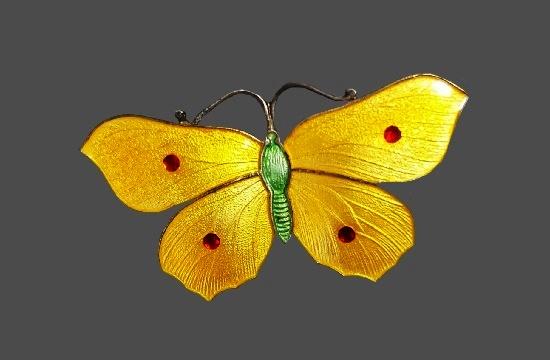 Yellow butterfly brooch. 925 sterling silver, enamel. 1917